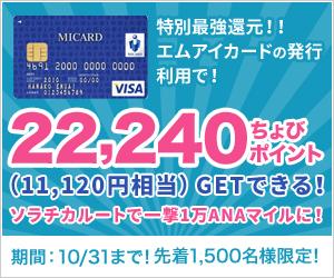 <まだいける!>1万ANAマイルゲットできるチャンス!!11,120円相当!